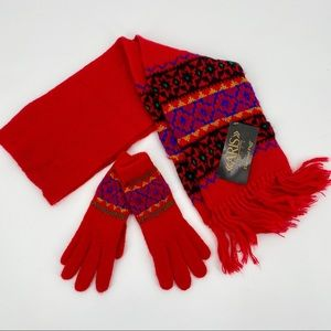 Vintage Aris Scarf And Glove Set Red Knit Fringed